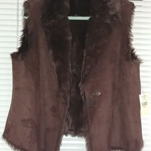 Brown Suede Woman Reversible Vest